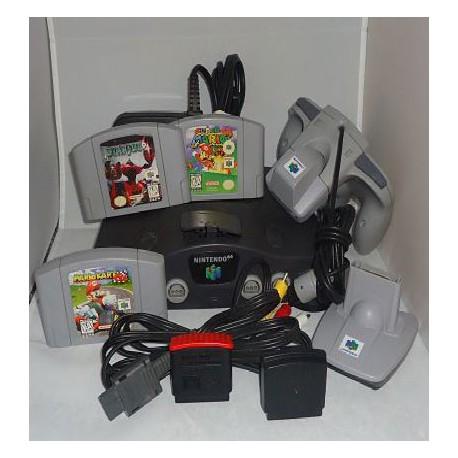 NINTENDO N64 + 2 CONTROLES + TRANSFORMADOR + SUPER MARIO 64 + STARFOX + MARIO KART